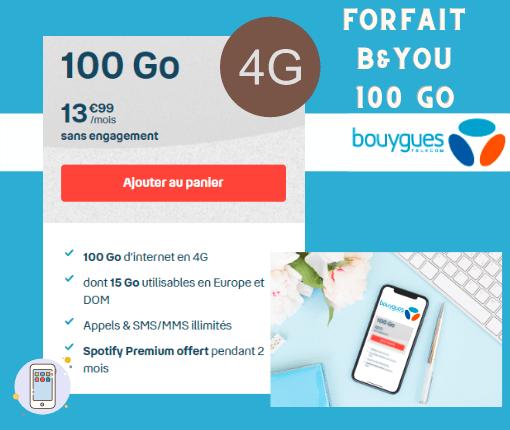 Description du forfait B and You sans engagement 100 Go