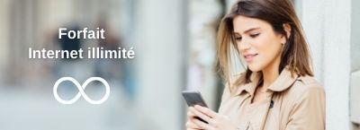 Femme utilisant son forfait mobile internet illimité orange