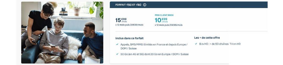 détail du forfait 4G Bouygues 50 Go