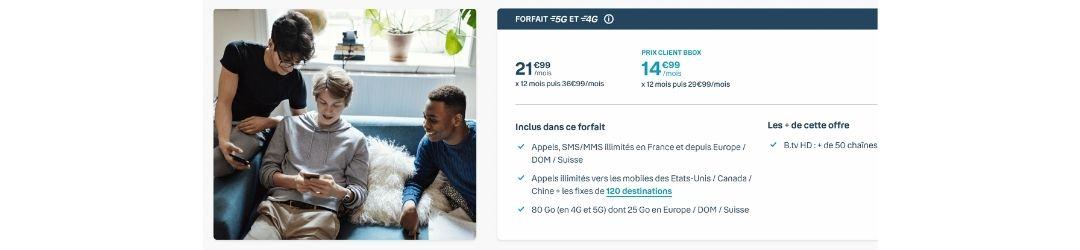 detail du forfait 4G Bouygues 80 Go