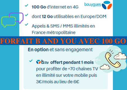 Descriptif du forfait illimité B and You avec 100 Go