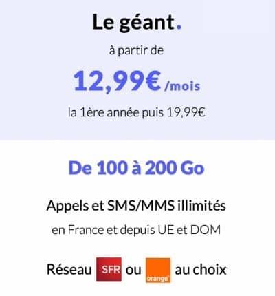 Détail du forfait illimité Prixtel Le Géant