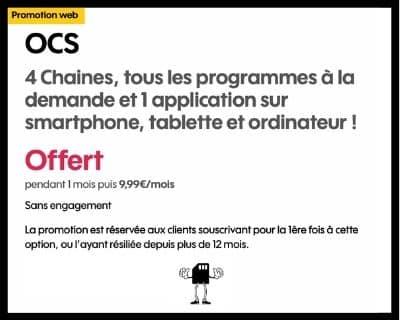 Promotion sur l'option OCS de Sosh