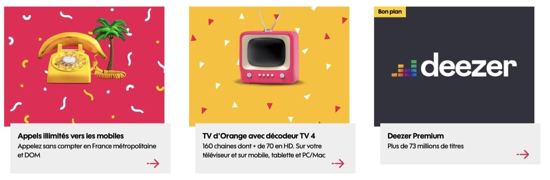 Exemples d'options avec une box internet sans engagement orange
