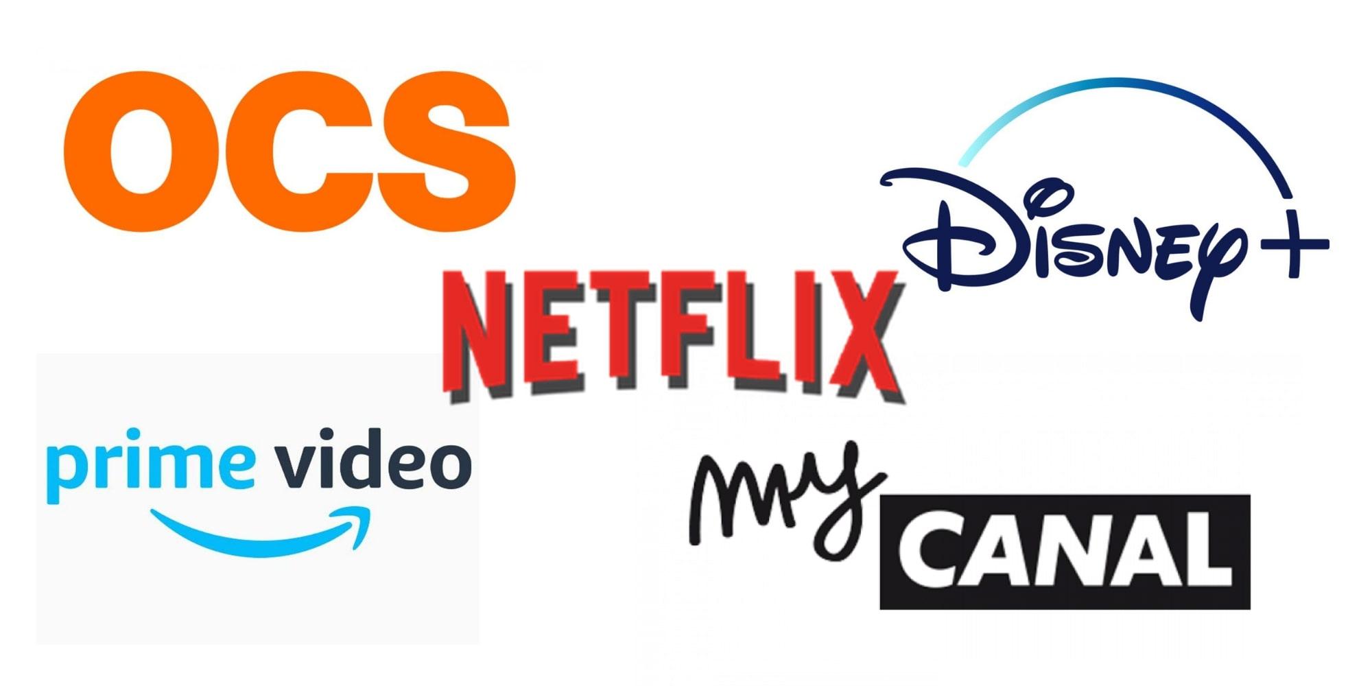 Logo de Netflix, MyCanal, Prime vidéo, OCS et Disney+
