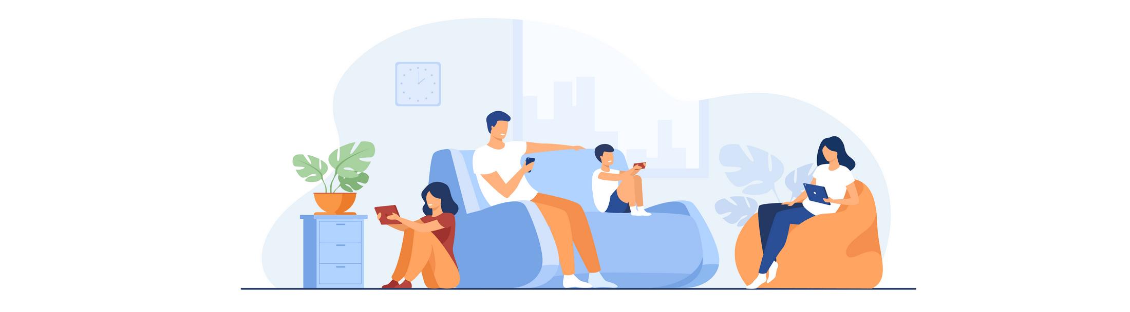 Une famille connectée